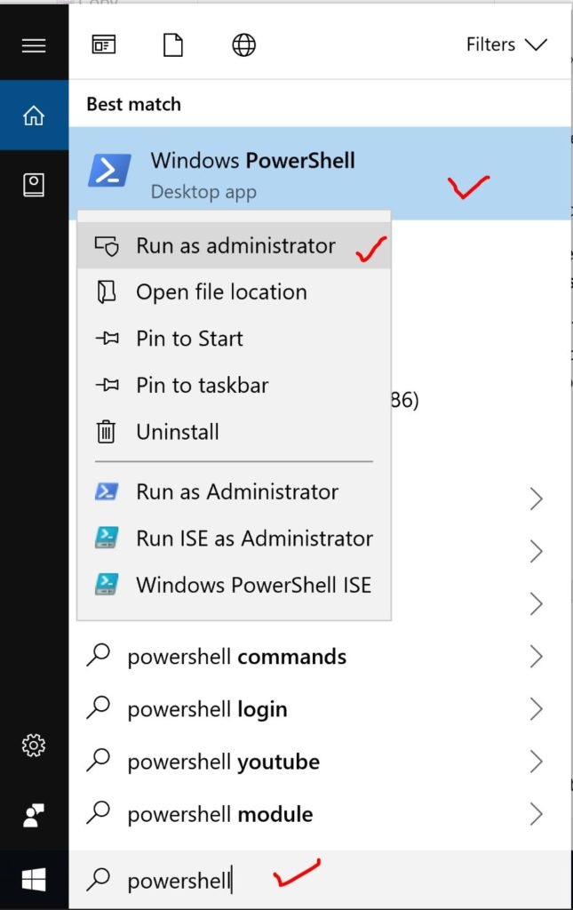 Powershell as an admin