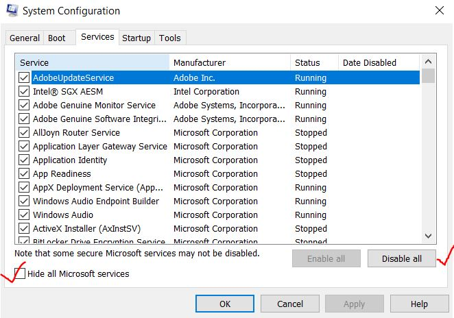 Disable Microsoft services