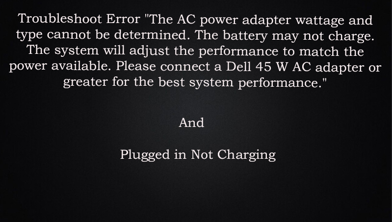 The AC power Adapter Wattage and Type Cannot be Determined