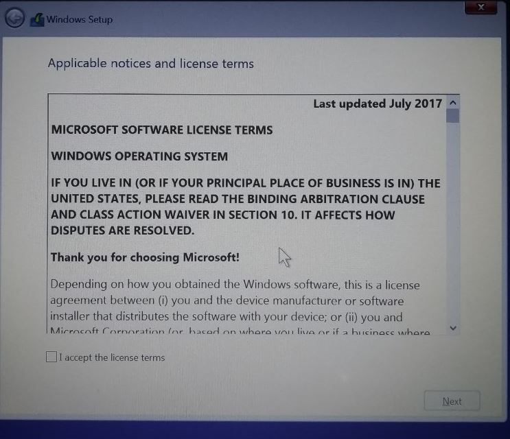 Accept the Microsoft License terms