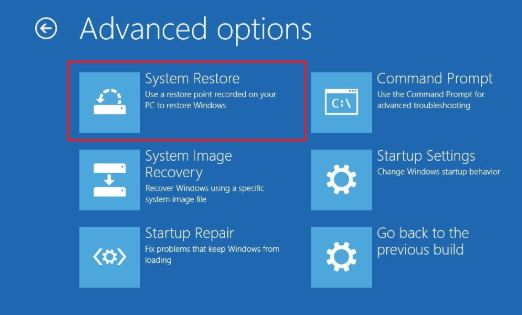 Advanced-option-system restore