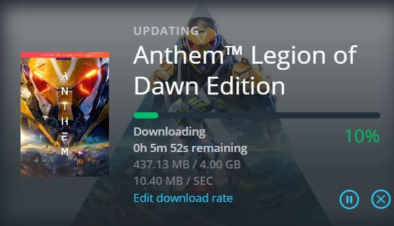 Anthem New update available