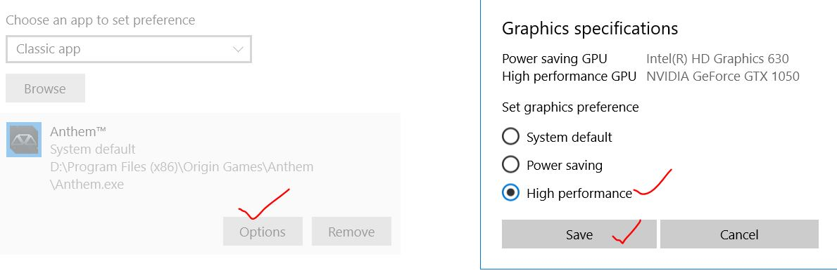 Save graphics settings to high performance