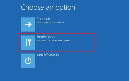 Troubleshoot advanced option