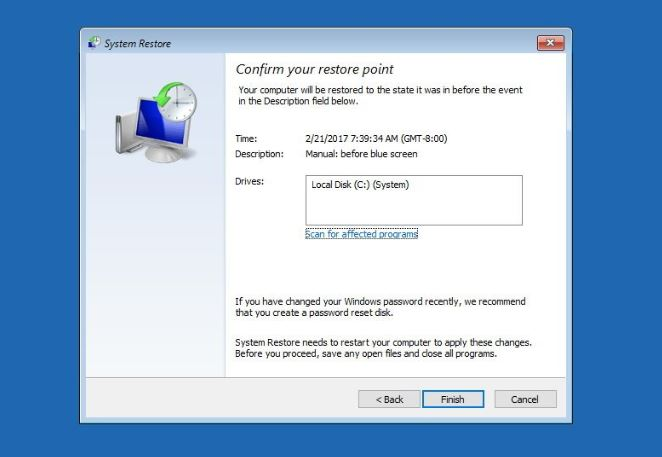 Date selection in system restore