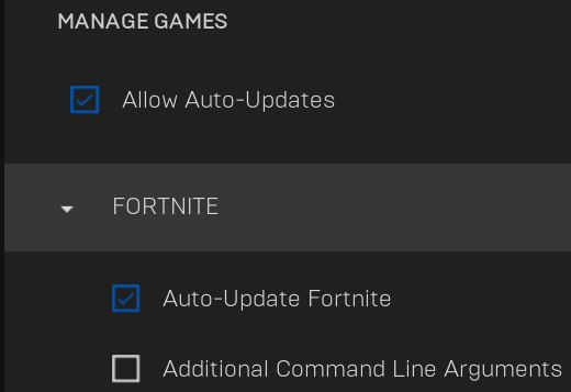 Auto Updates in Epic Games launcher