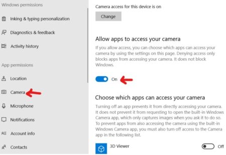 Camera access settings for apps windows 10