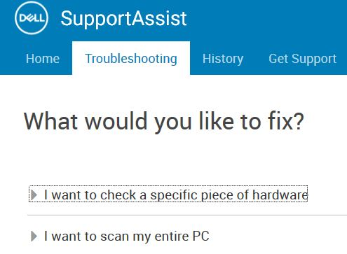 Dell support assist specific test