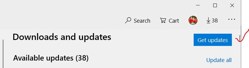 Get updates for from Microsoft store