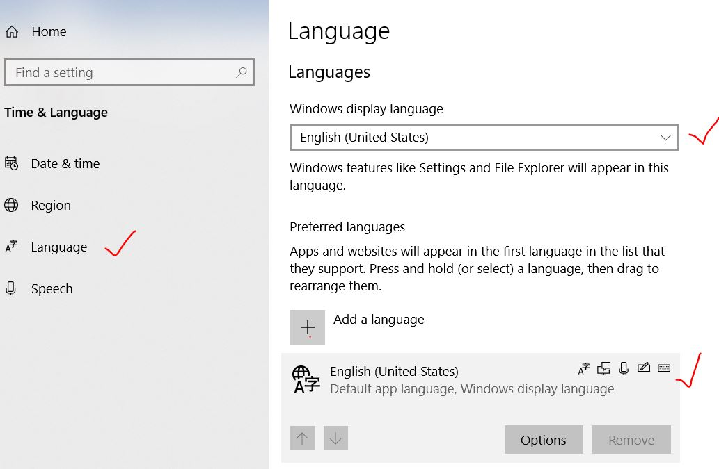 Language as US in windows 10