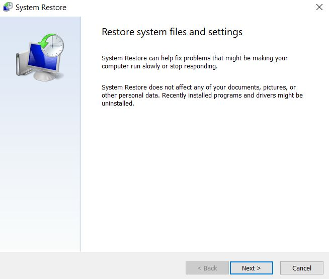 Restore system files and settings windows