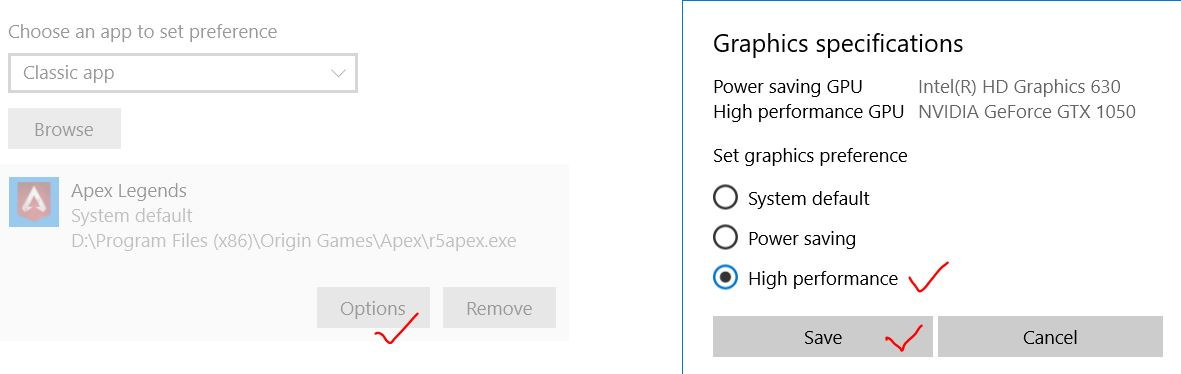 Save graphics settings for apex to high performance