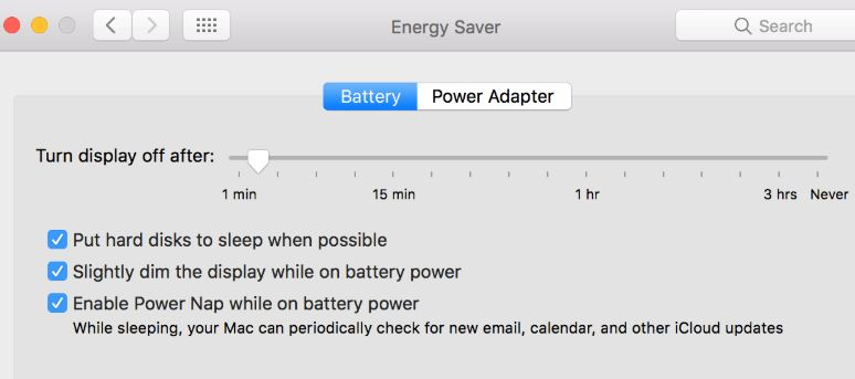 Set sleep in mac and turn off power nap