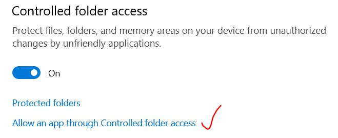 Allow an app through controlled folder access