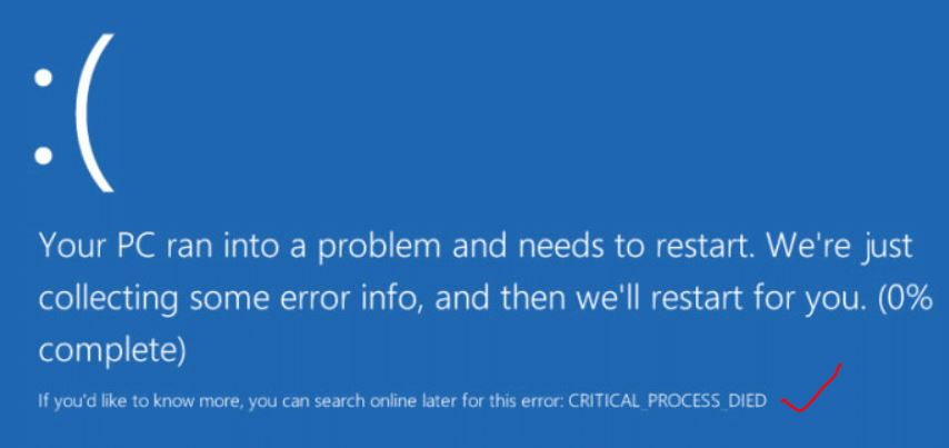Fix CRITICAL_PROCESS_DIED Blue Screen error Windows 10