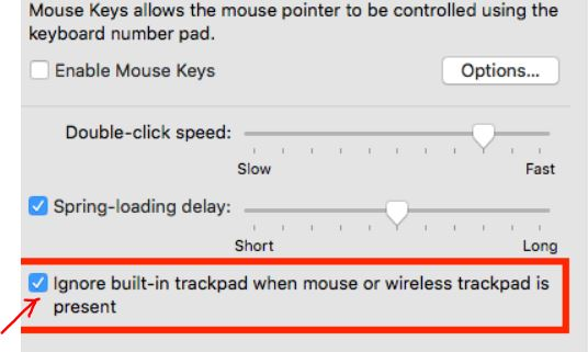 Check Ignore built-in trackpad when mouse or wireless trackpad is present option