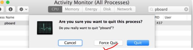Force quit pboard