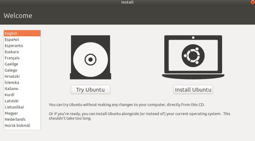 Install ubuntu or try ubuntu
