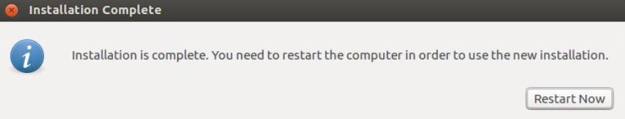Restart now after Ubuntu installation