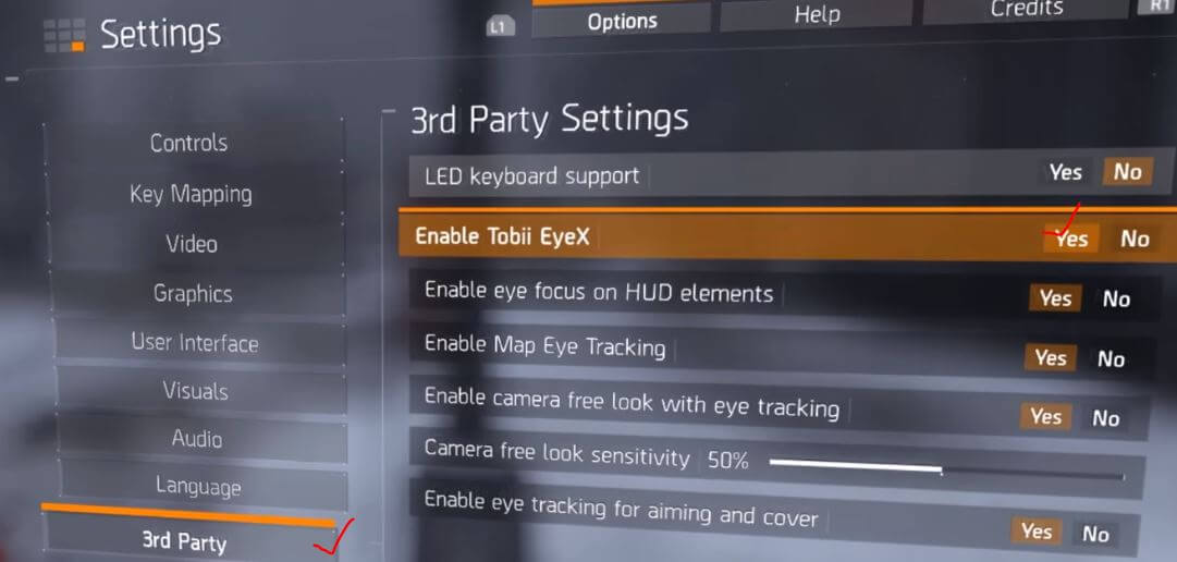 Steps to enable Tobii Eyetracking In Tom Clancy's The Division 2