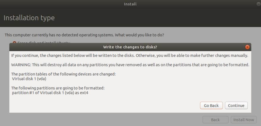 Write the changes to the disk