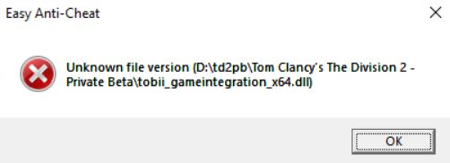 unknown file version error tom clancy's division 2