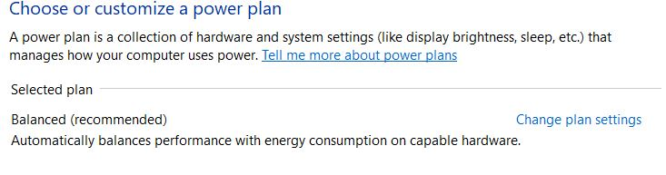 Choose a power plan
