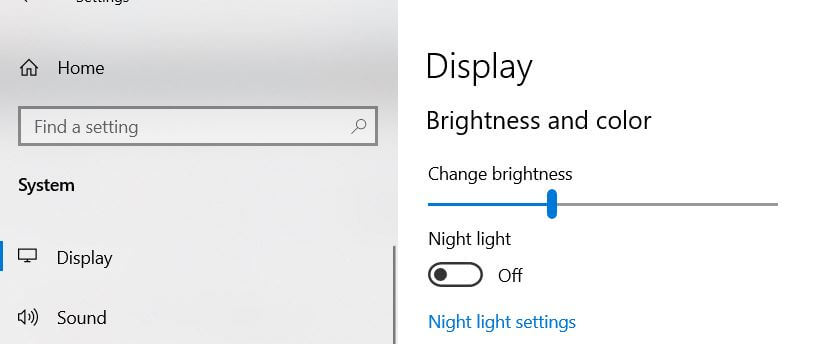 Decrease the screen brightness Windows 10