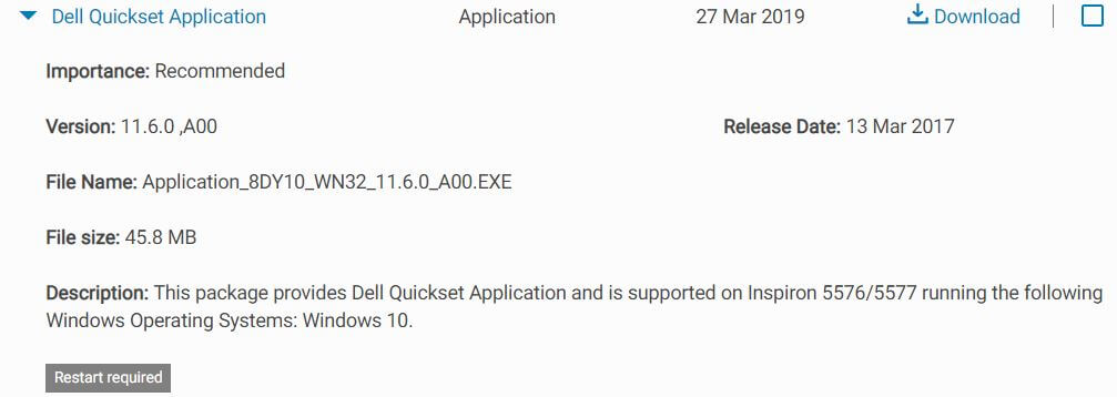 Dell Quickset application