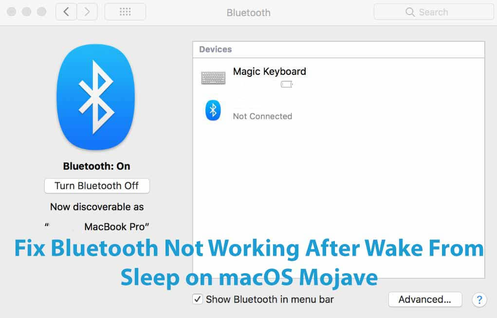 Fix Bluetooth Not Working After Wake From Sleep on macOS Mojave