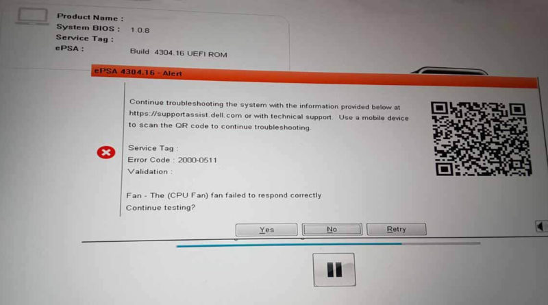 Fix Error Code 2000-0511 The Fan Failed to Respond Correctly on Dell PC