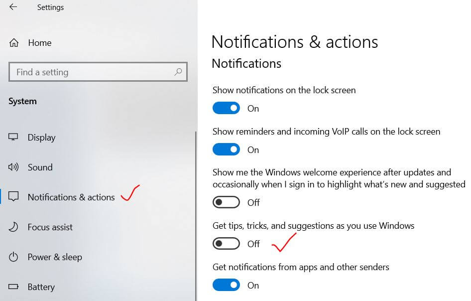 Toggle off the tips and tricks notifications