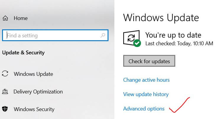 Windows 10 update advanced options