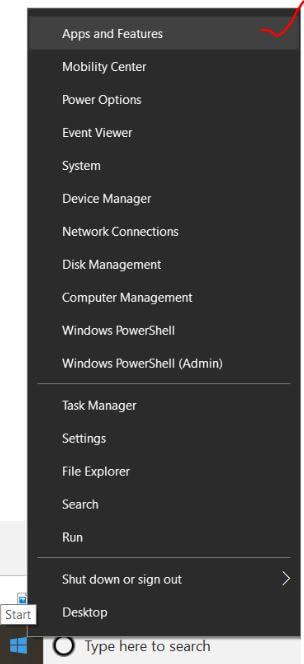 Apps and feature from start menu