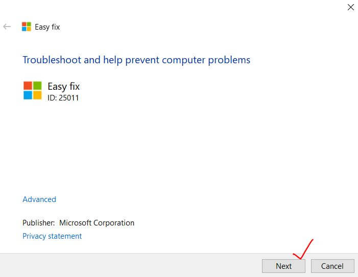 Easy Fix tool Microsoft