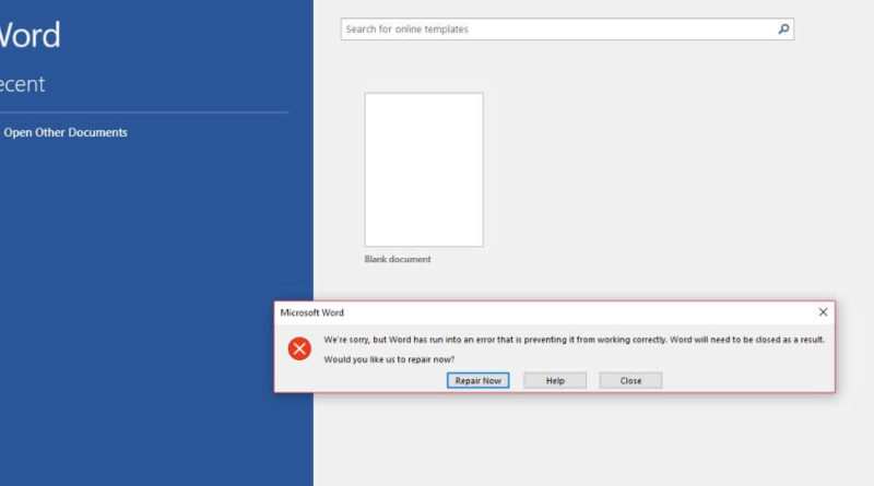 Fix Word, Excel, Power Point, Outlook, Office App Has Run Into An Error That is Preventing it From Working Correctly