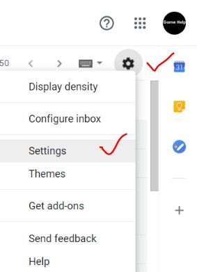 Open gmail settings