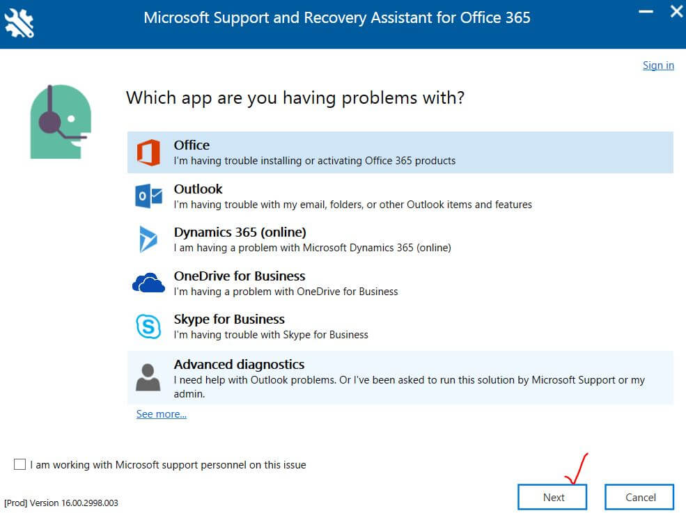 Select the Office app with which you are facing the problem
