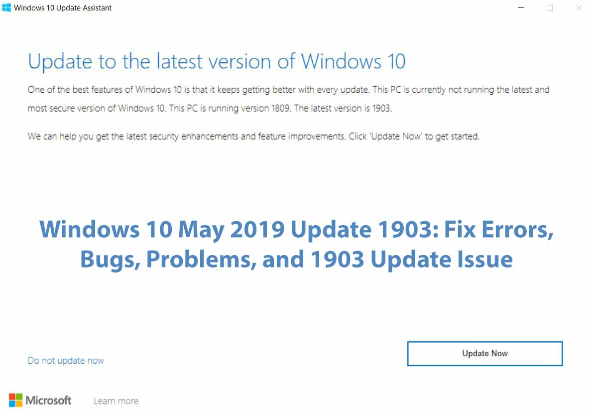 Windows 10 May 2019 Update 1903 Fix Errors, Bugs, Problems, and 1903 Update Issue