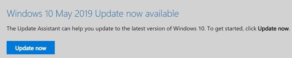 Windows 10 May 2019 Update available