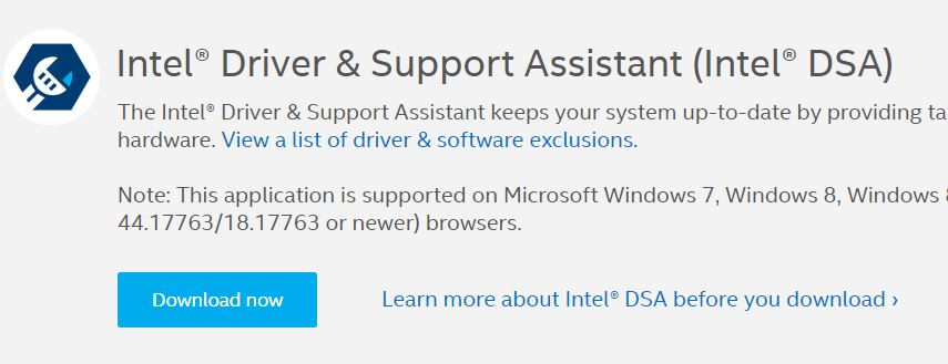 Download Intel Driver & Support Assistant