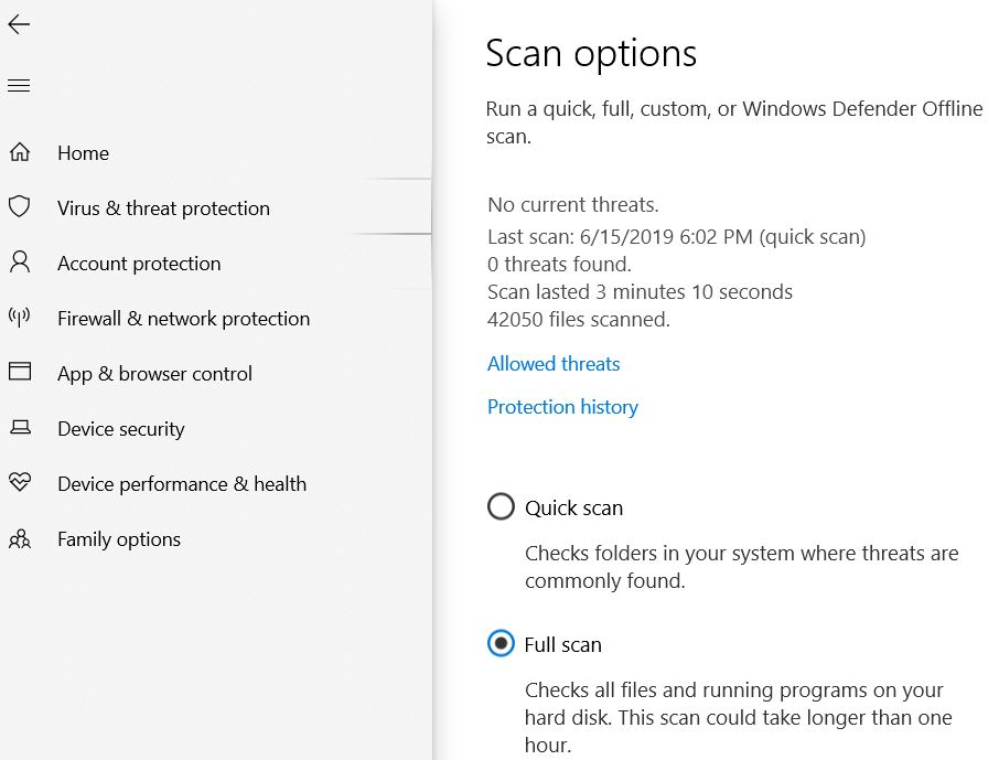 Run Full Scan using Windows Security