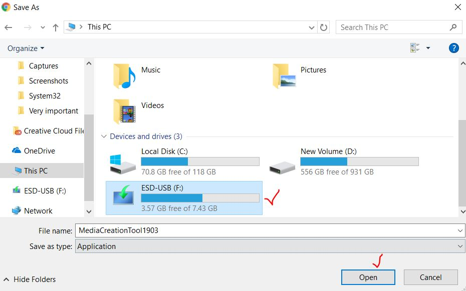 Select USB Flash Drive and click open