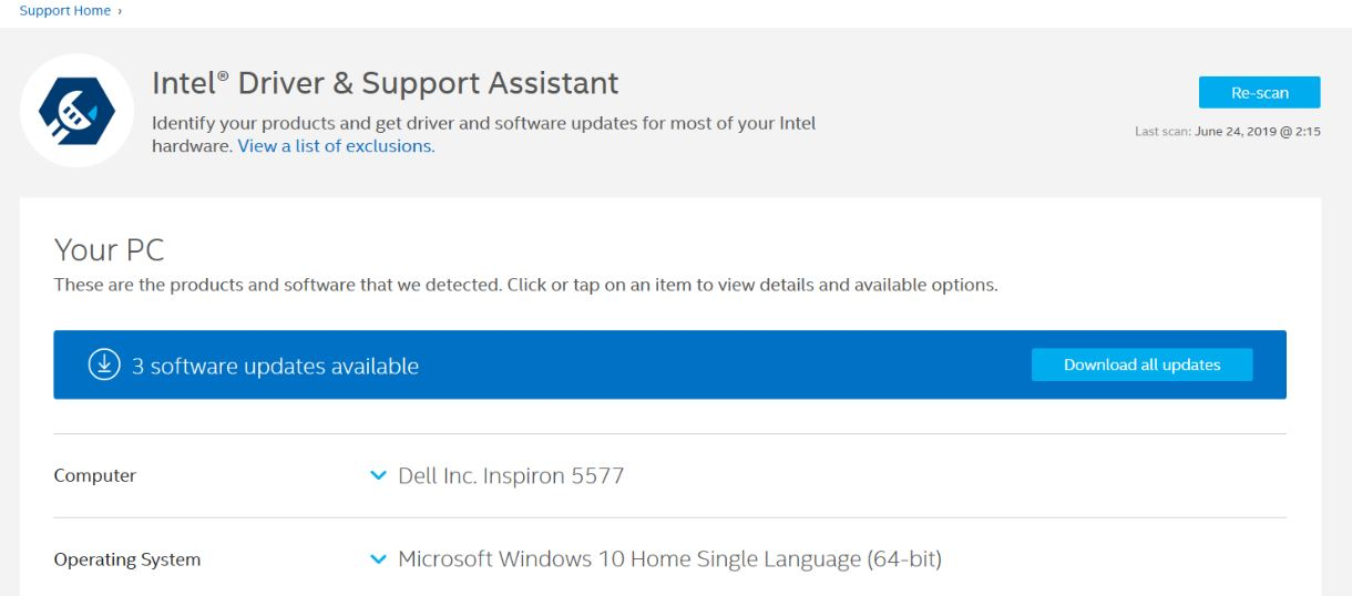 Update Intel graphics using Intel Driver & Support Assistant