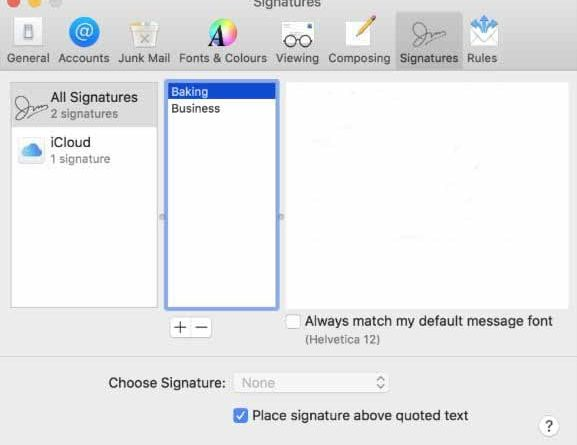 Mail Signature Not Working on macOS Mojave