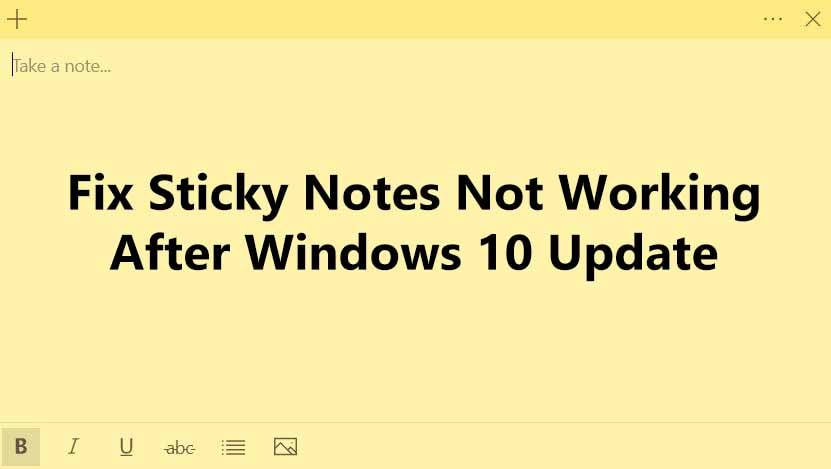 Sticky Notes Not Working After Windows 10 1903 Update