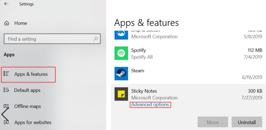 sticky notes advanced options in apps and feature