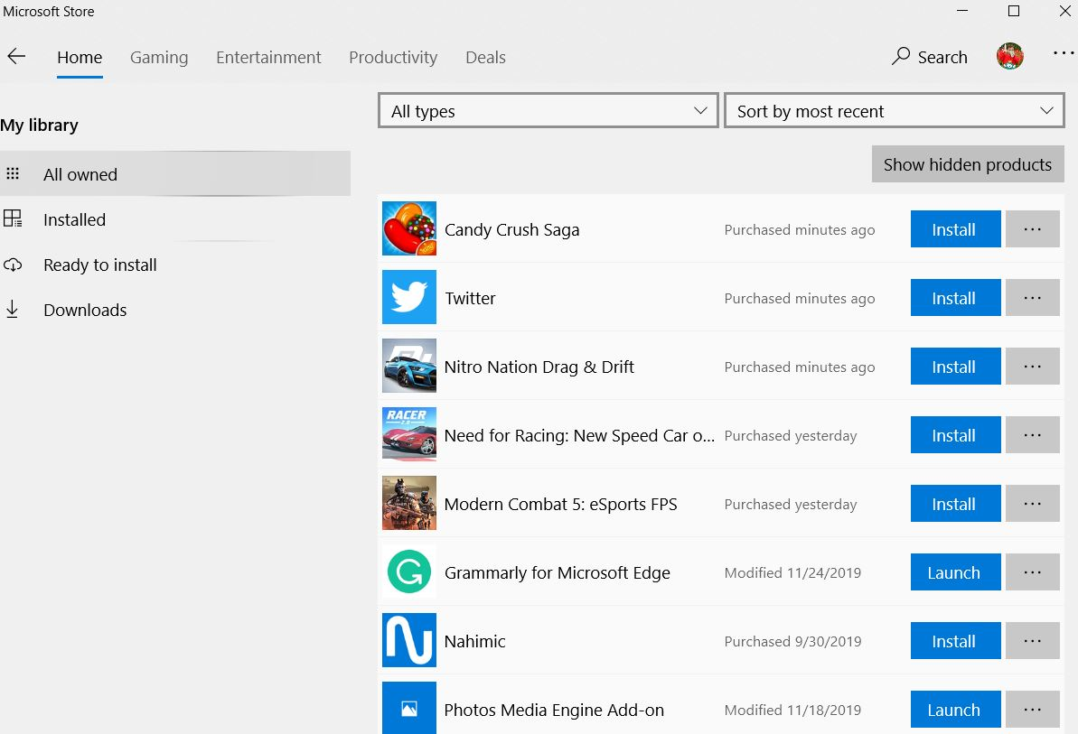 Install app from library of Microsoft store