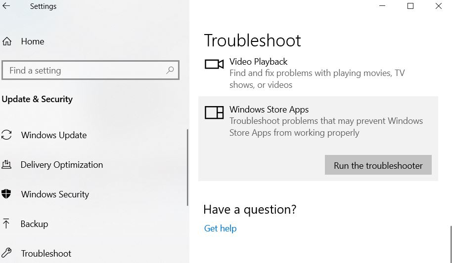 Window store app troubleshooter