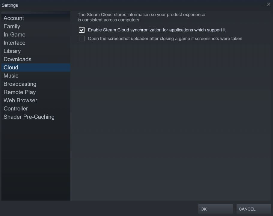 Disable Steam Cloud from Steam Settings